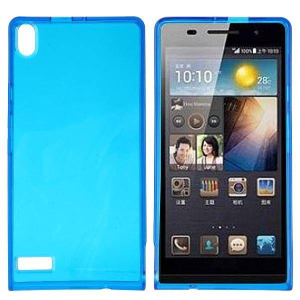 Blauw / transparant flexibel TPU hoesje voor Huawei Ascend P6