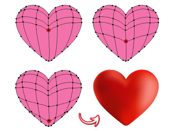 """Follow this tutorial and learn how to create a set of cute heart icons: a """"Love you"""" banner heart, a broken, a post-it note and a devil heart. The heart is made with the help of the Mesh Tool (U)..."""