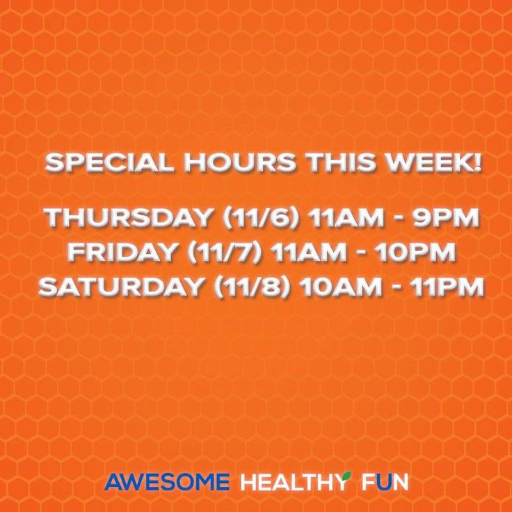 We have special hours this week!  Thursday (11/6) 11am - 9pm Friday (11/7) 11am - 10pm Saturday (11/8) 10am 11pm Sky zone sports coupons