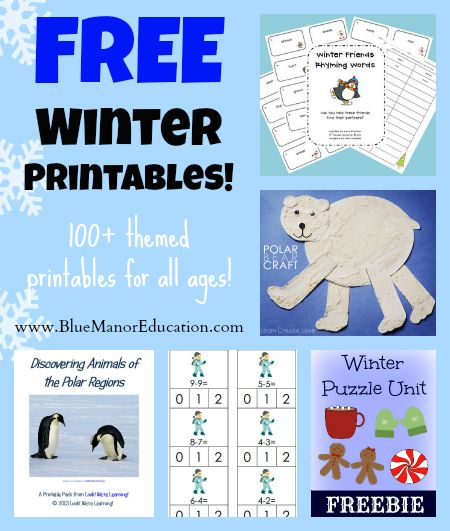 The ultimate collection of Free Homeschool Printables: Winter Themed!  500+ pages!Homeschool Prizes, Free Homeschool Printables, Printables Winter, Huge Homeschool, Homeschool Winter, Free Winter, Schools Ideas, Free Homeschooling Printables, Superlatives Roundup