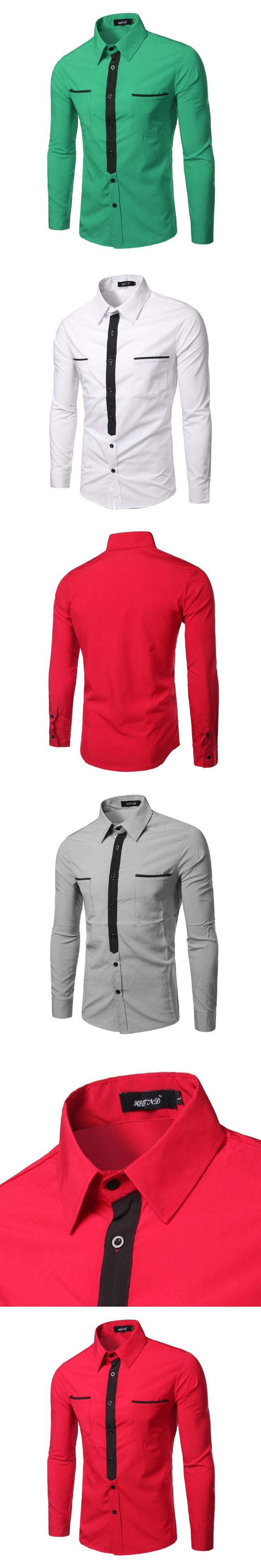 2017 New Fashion Spring Autumn Men Shirts Long Sleeve Style Size M-XXL Full Print Man Slim Fit Shirt Europe Style Men Tops PCA03