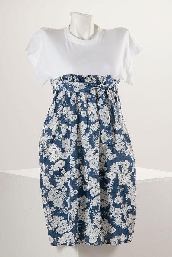 La Pomme D'Eve Flower Tshirt Dress by lapommedeve on Etsy, €50.00