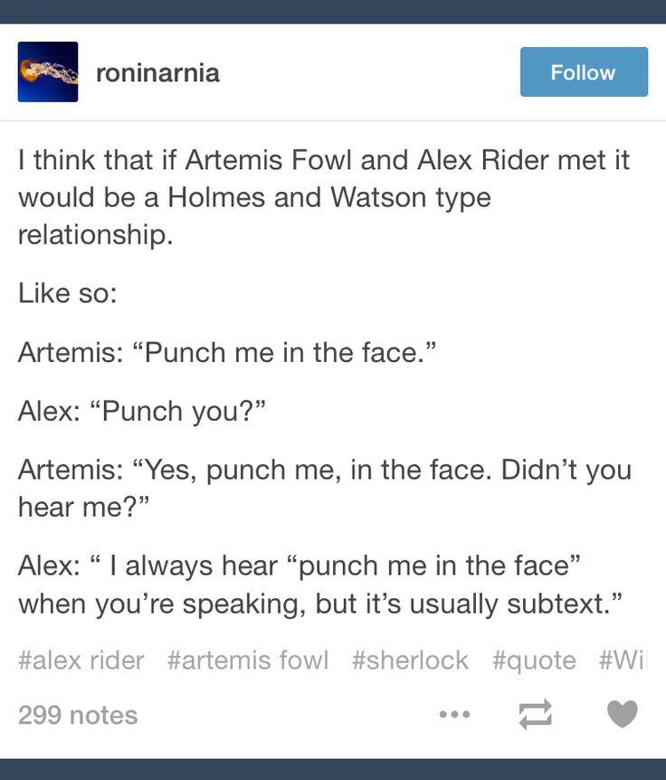 Alex and Artemis = Sherlock and John; Alex Rider; Artemis Fowl; tumblr