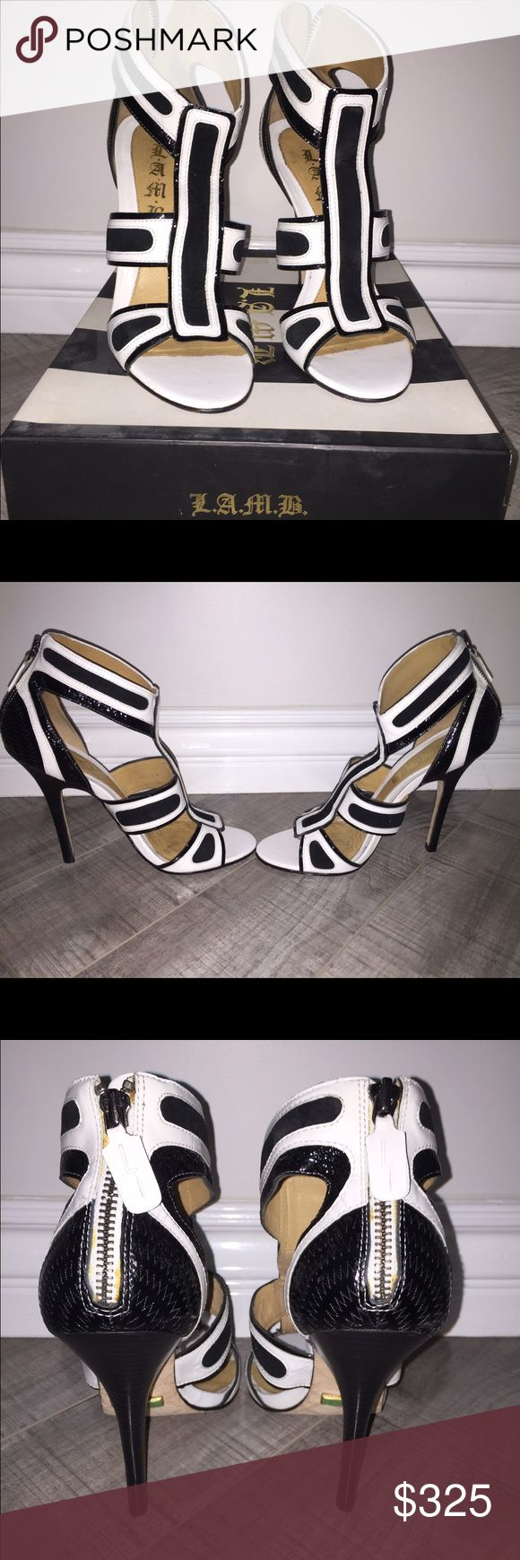 Gorgeous black and white heels Black and white leather pumps. Worn once. Great condition L.A.M.B. Shoes Heels