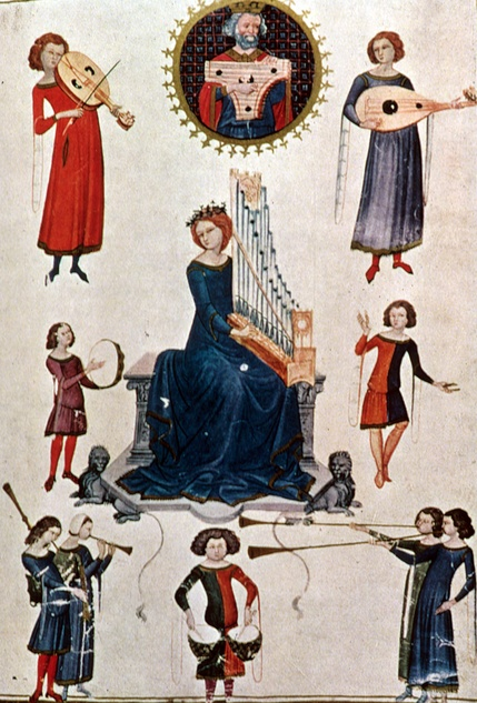 """Allegory of Music""  1350 14th century  Colorful cote-hardies with sleeve extensions, long hanging lappets"