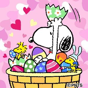 Snoopy And Woodstock Sitting In A Giant Easter Basket Full Of Easter