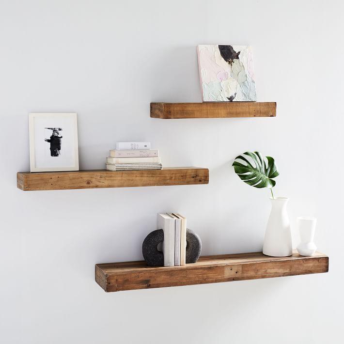 Reclaimed Wood Floating Shelf West Elm In 2020 Shelf Decor Living Room Reclaimed Wood Floating Shelves Wood Floating Shelves