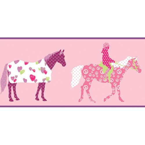 Girl Power Pinks and Purple and Lime 2 Horse Border