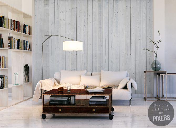 Wall Mural White wood