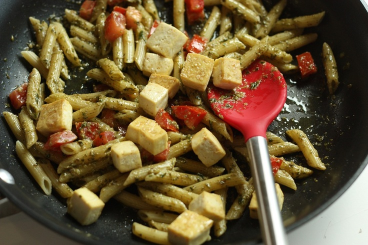 Pesto Penne with Baked Tofu Bites 16 oz Penne Pasta 1/2 Cup Prepared ...