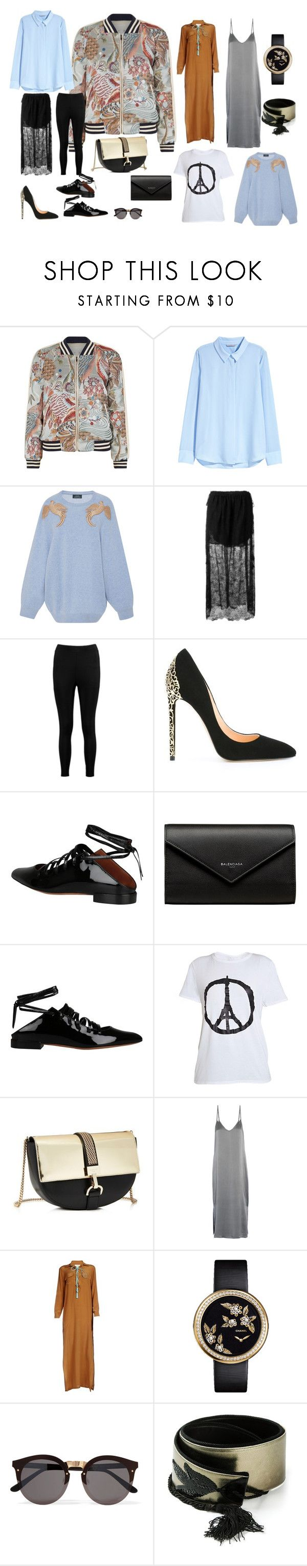 """mini capsule_multilayered"" by liveinspb on Polyvore featuring мода, Maje, H&M, Alena Akhmadullina, Chloé, Boohoo, Cerasella Milano, Givenchy, Balenciaga и Lanvin"