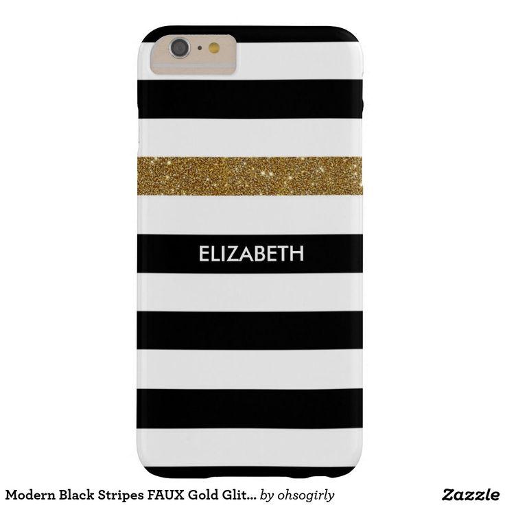 Modern Black Stripes FAUX Gold Glitz and Name