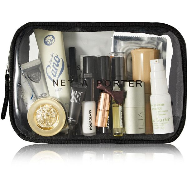 Net-A-Porter Beauty On-The-Go Beauty Kit ($105) ❤ liked on Polyvore featuring beauty products, gift sets & kits, eyebrow kit, polishing kit, eye brow kit, face toner and gel eye mask
