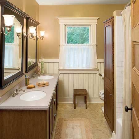28 best images about bathroom redesign on pinterest for Bathrooms with wainscoting photos