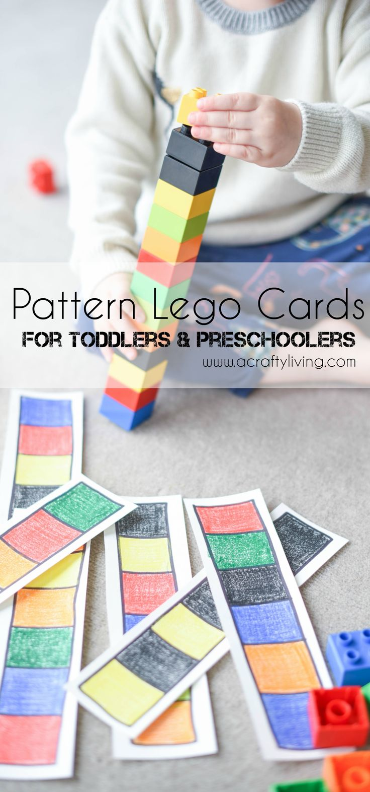 DIY Lego Pattern Cards for Toddlers & Preschoolers! www.acraftyliving.com