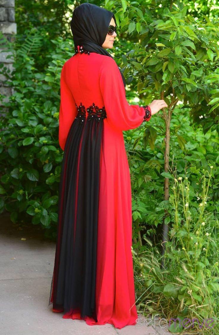 Sefamerve Tesettür Abiye Elbiseler PDY 4223-04 Kırmızı