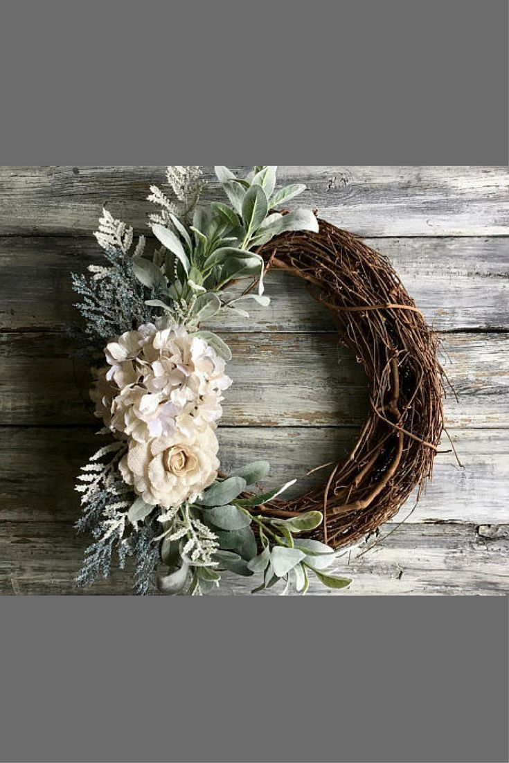 This wreath would be the perfect accent to my front door or empty wall space. I love the rustic grapevine wreath contrasted with the white artificial hydrangea, burlap rose and soft pastel textures. #farmhousedecor #ad #farmhouse #decorations