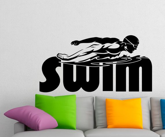 Swimming Wall Decal Stickers Sports Swim Decor For Boys