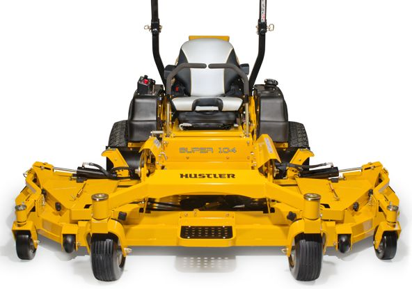 """Hustler Turf Equipment's Super 104 mower, seen here, will soon be equipped with a Vanguard """"Big Block"""" V-Twin engine from Briggs and Stratton."""