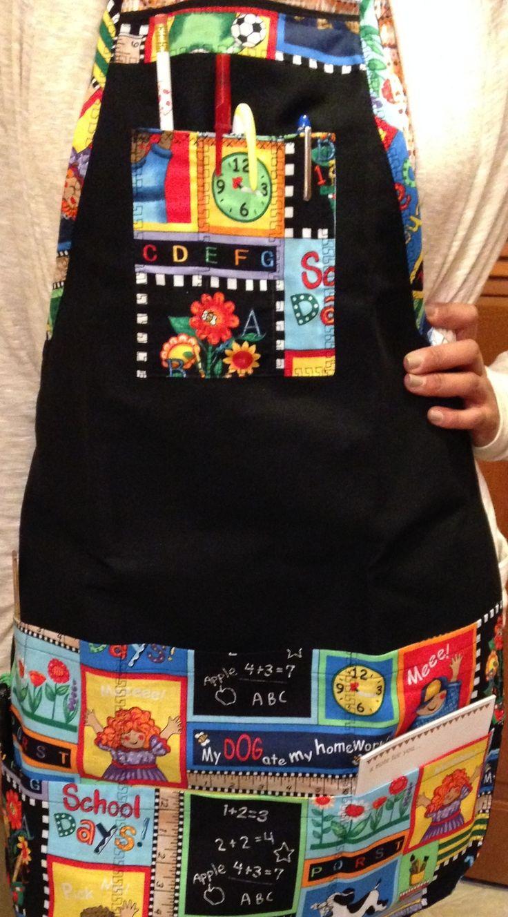 Full Size teacher apron - Colorful, cute, creative! Pockets for your scissors, pens, pencils, and more! http://www.teacherspayteachers.com/Product/Handy-Dandy-Full-size-Teacher-Aprons-927594