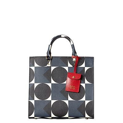 Orla Kiely | USA | bags | SALE - Bags | Spot Square Printed Textured Vinyl Willow Box Bag (15ABTVP203) | indigo