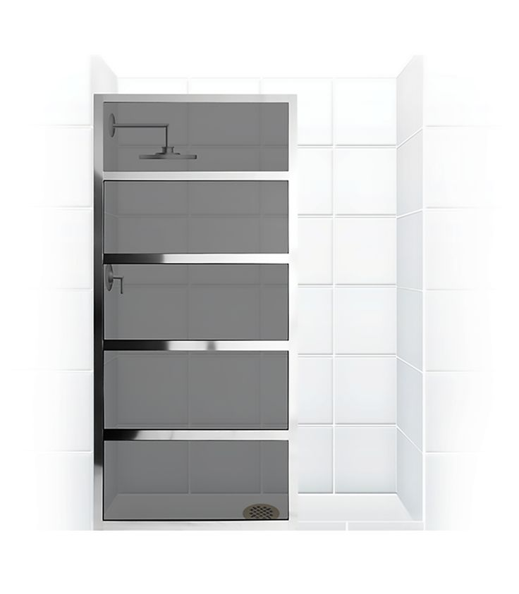 Get a polished look with a true divided-light screen that features individual, customizable panes for stunning, singular style. Create combinations that let patterned glass contrast with a chrome metal finish for an urban vibe that maintains a luxury feel. True divided-light design Stationary shower screen brings high-fashion style and décor  Smoke-grey glass