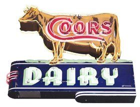 Complete Coors Dairy Die-Cut Porcelain Cow Neon Sign.
