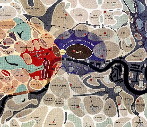 "Map of London Social and Functional Analysis 1943  Oliver O`Brien 20.8.2012  [Updated] This map of London districts, was intended to be used as a grand ""master plan"" of how a post-WW2 London   http://www.bartlett.ucl.ac.uk/casa/#"