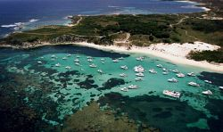 TWA-0007650 © WestPix Full up. Parker Point at Rottnest today with holiday makers enjoying the calm clear waters.