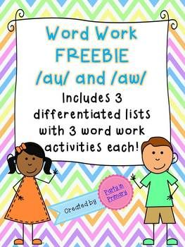 Dfdc D Bae F D Cd Ab Au And Aw Activities Word Work Activities on first grade reading worksheets