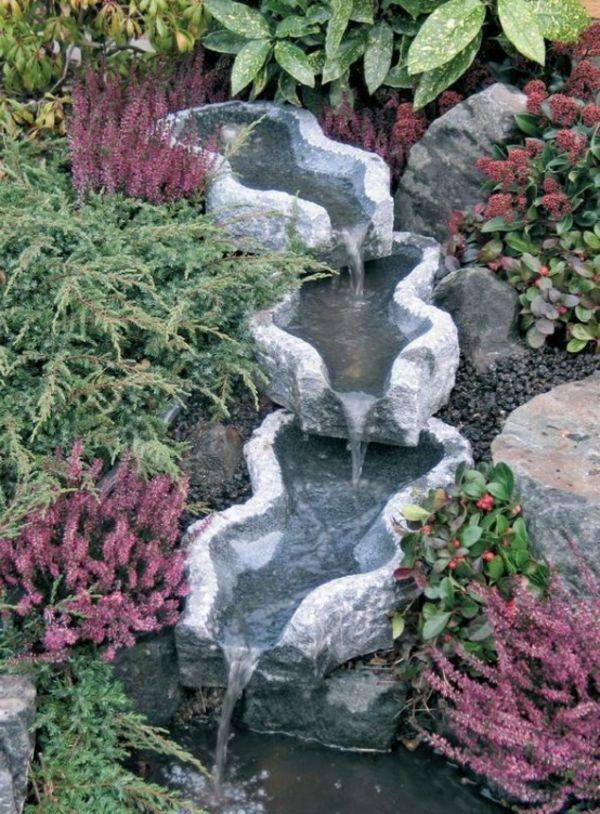 Cascade et  fontaine de jardin , 69 déco pour les moments de relaxe - art-fontain-cascade-verdure-violet