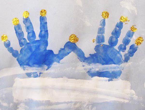 A Menorah Made From Little Handprints Creative Ideas