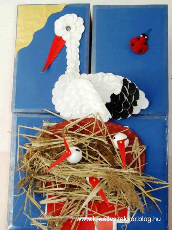 Ház gólyafészekkel, benne tojással, fiókákkal http://kreativszakkor.blog.hu/2013/03/11/golyahir_566