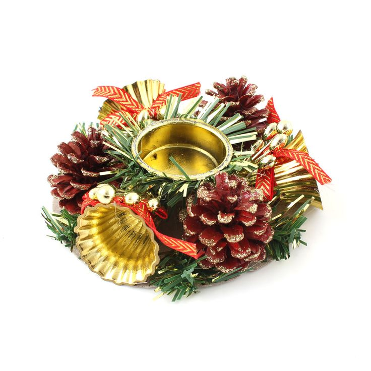 12 cm Christmas Holiday Pinecones Holly Berry Candle Holders Xmas Dinner Decor #IDS