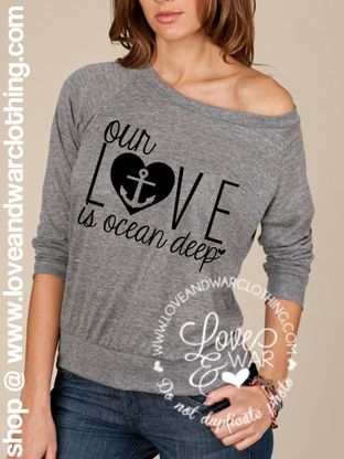 Our love is ocean deep NAVY slouchy top