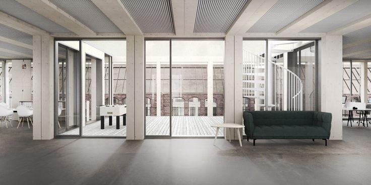 MODULAR OFFICE BUILDING - zablotnytomasz | portfolio  architecture modular timber interior gdansk shipyard rendering illustration