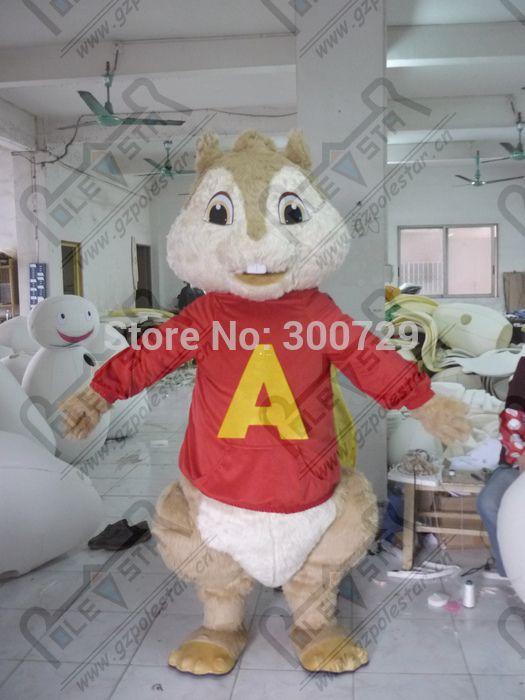 export high quality customized alvin mascot costumes red <font><b>shirt</b></font> chipmunk costumes