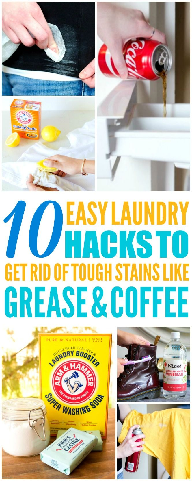 These 10 easy laundry hacks are THE BEST! I'm so happy I found these AMAZING tips! Now I have some great ways to get rid of stains! Definitely pinning!