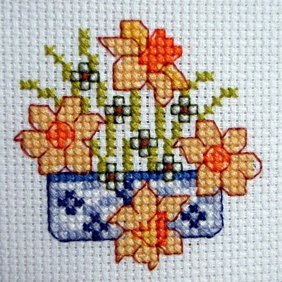 Cross Stitch - Flower panel for card - stitched October 2010