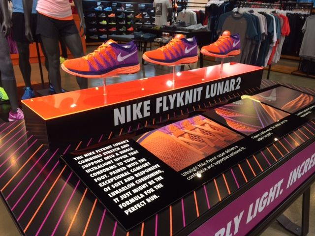 Nike Flyknit Lunar 2 - Impossibly Light. Incredibly Strong. retail table display…