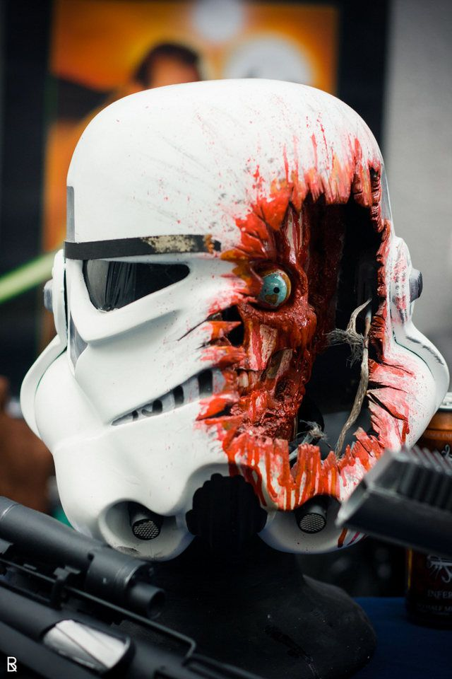 If this was a bust, I'd buy one! This is what a Stormtrooper looks like when he takes a direct headshot [Maybe NSFW]