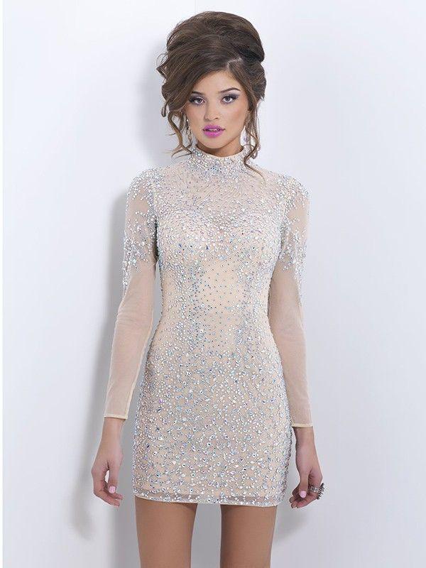 Champaña Vaina   columna de cuello alto manga larga de rebordear corto    mini de tul Vestido corto por € 608 58031cb3748d