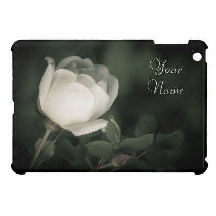 White Wild Rose on a Dark Background. Your Text. Case For The iPad Mini - floral style flower flowers stylish diy personalize