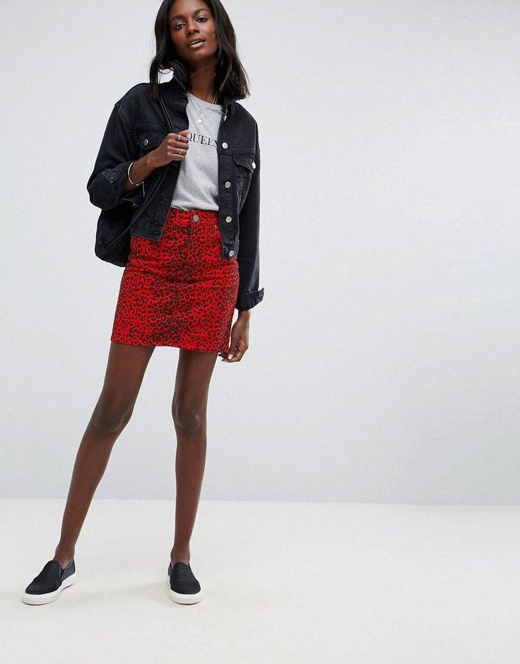 ASOS Denim Original High Waisted Skirt in Red Leopard Print - Red