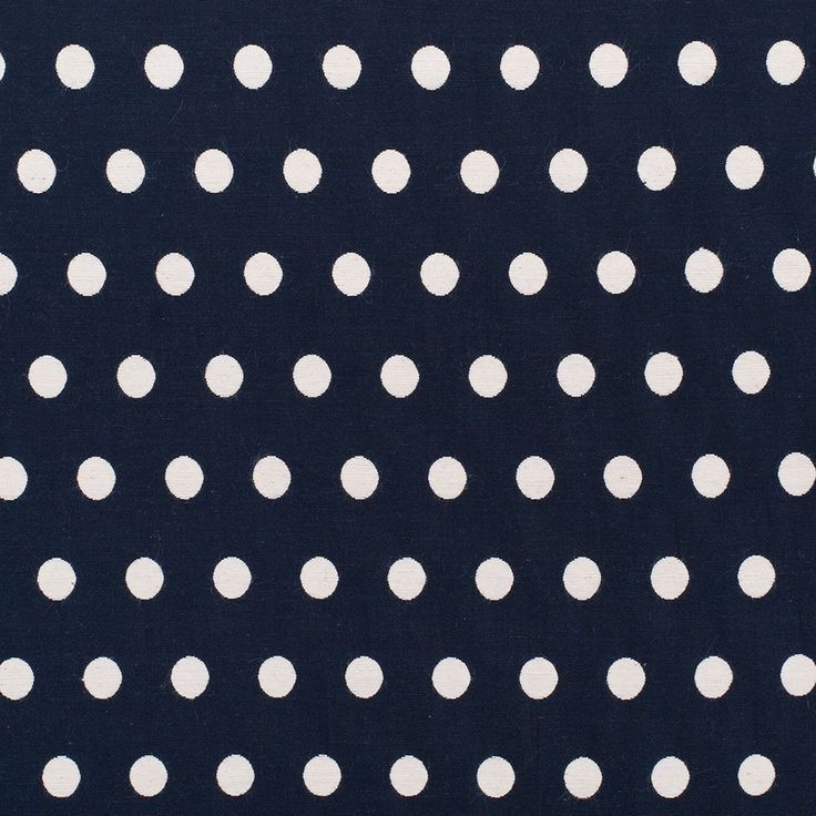 Midnight Blue and Ivory Polka Dot Cotton Blend Woven Fabric by the Yard   Mood Fabrics