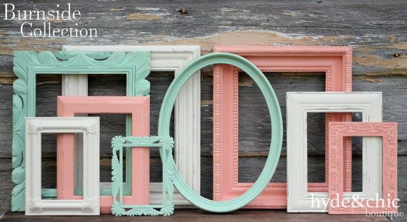 Mint, Coral and Antique White Picture Frame Set / Shabby Chic Decor / Ornate Picture Frames / Gallery Wall Collection / Burnside Collection
