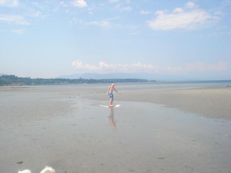 Skimboarding at Qualicum Beach