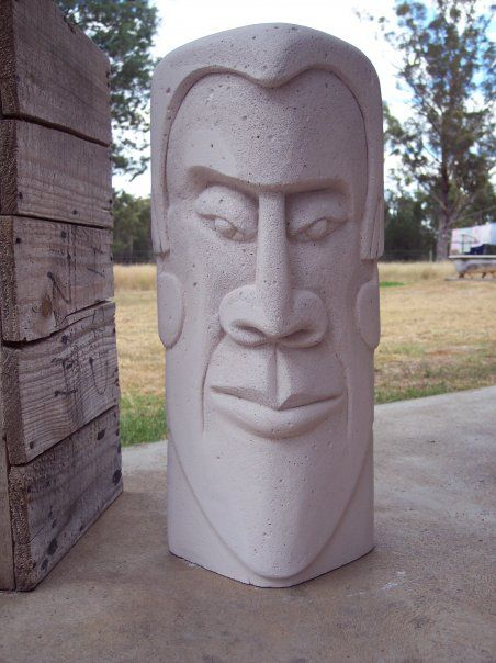 Totem head carved from hebel.