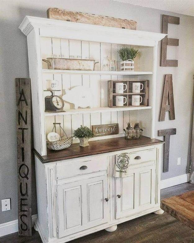 An Antique Cupboard with Charming Farmhouse Decor #FarmhouseLivingRoom