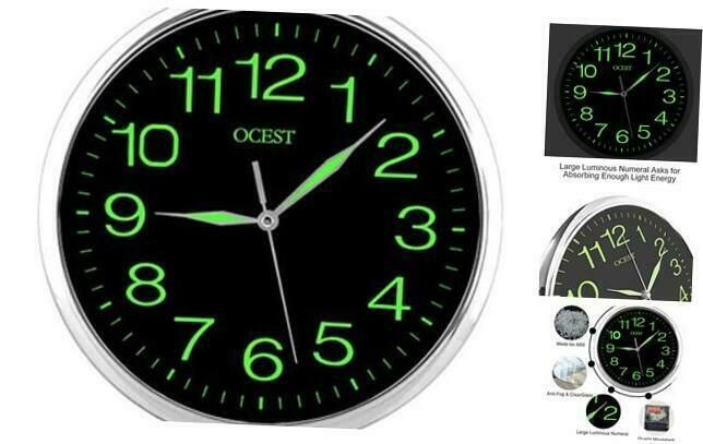 Ocest 12 Inch Wall Clock With Night Light Large Display Silent Non Ticking Quali In 2020 Wall Clock Large Digital Wall Clock Night Light